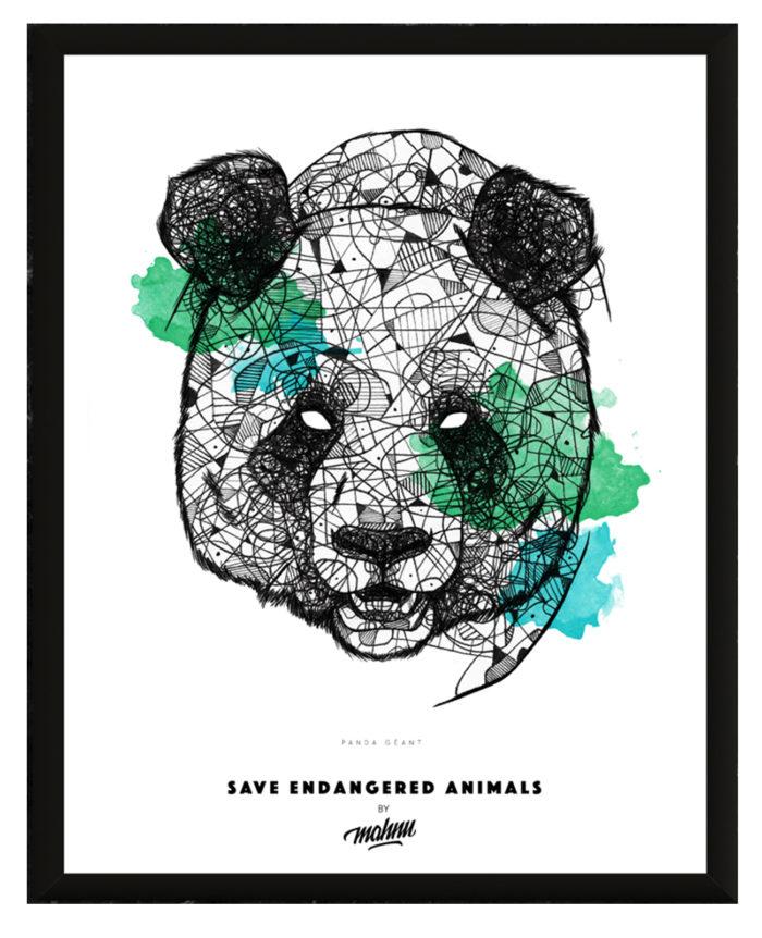 Affiche Panda encadrée