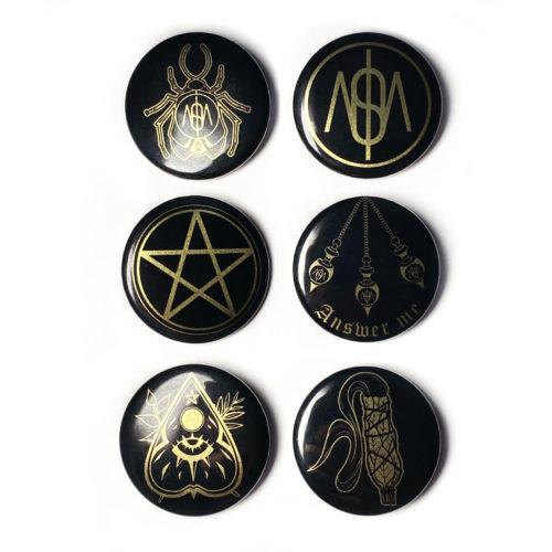 Lot de 6 badges avec épingle Alucinosa
