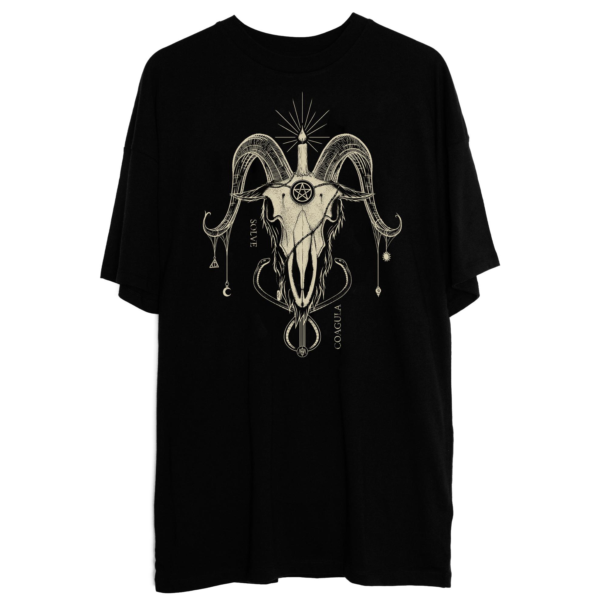 Robe T-shirt Baphomet Crème sur Noir